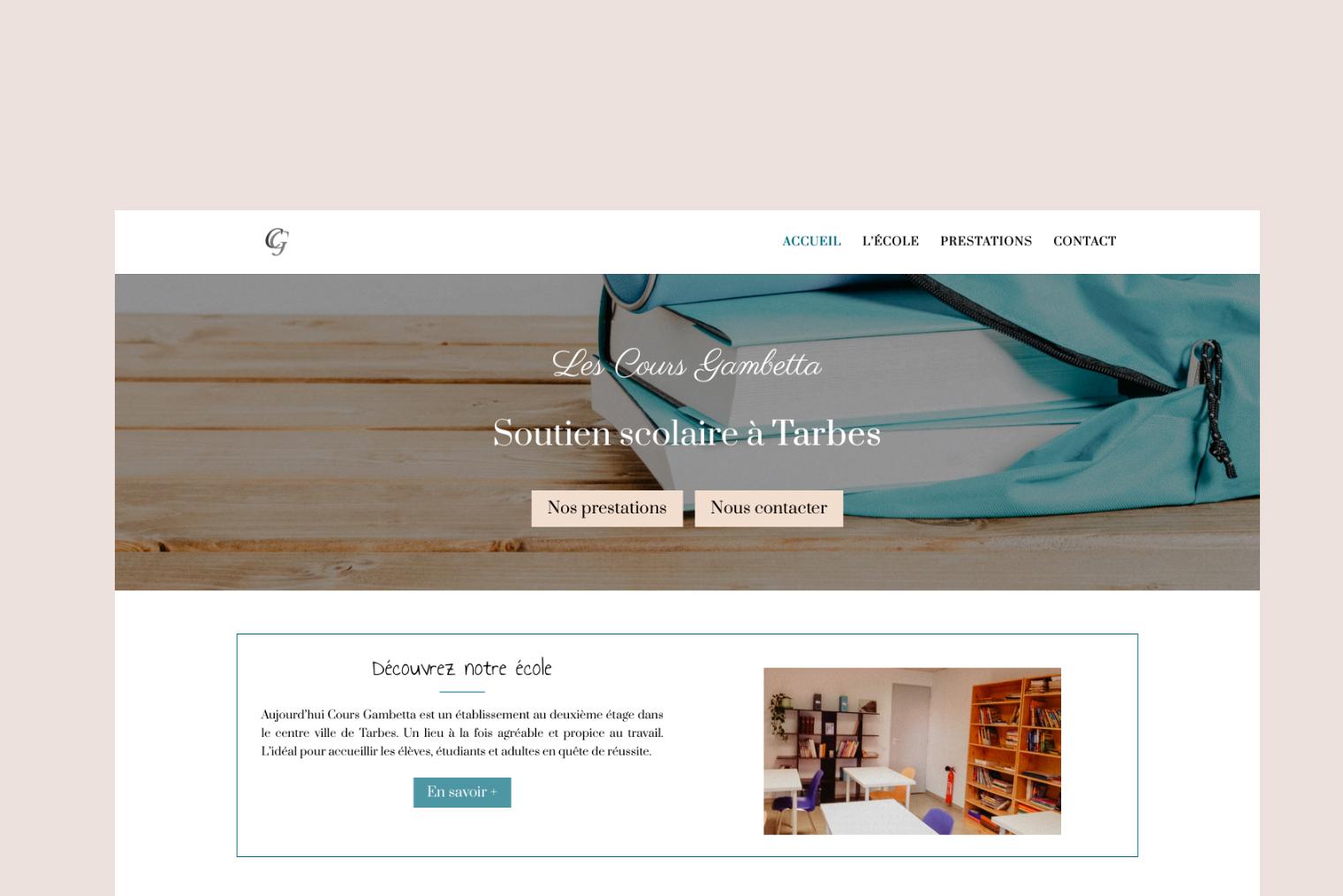 La page d'accueil du site internet de soutien scolaire Cours Gambetta à Tarbes.