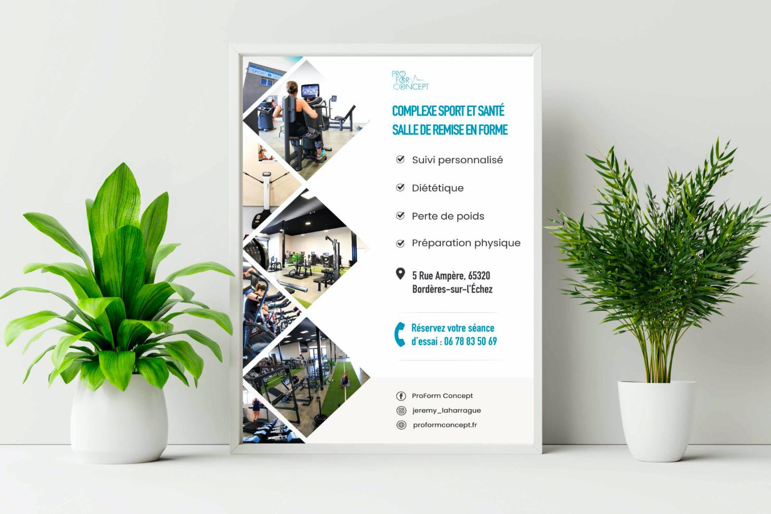 Une affiche pour la salle de remise en forme ProForm Concept.