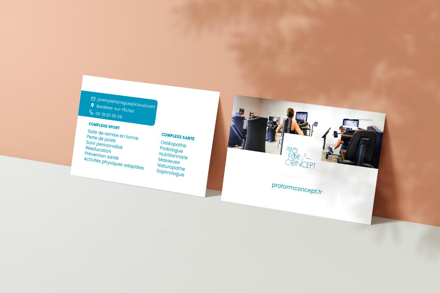 La carte de visite de la salle de remise en forme ProForm Concept.