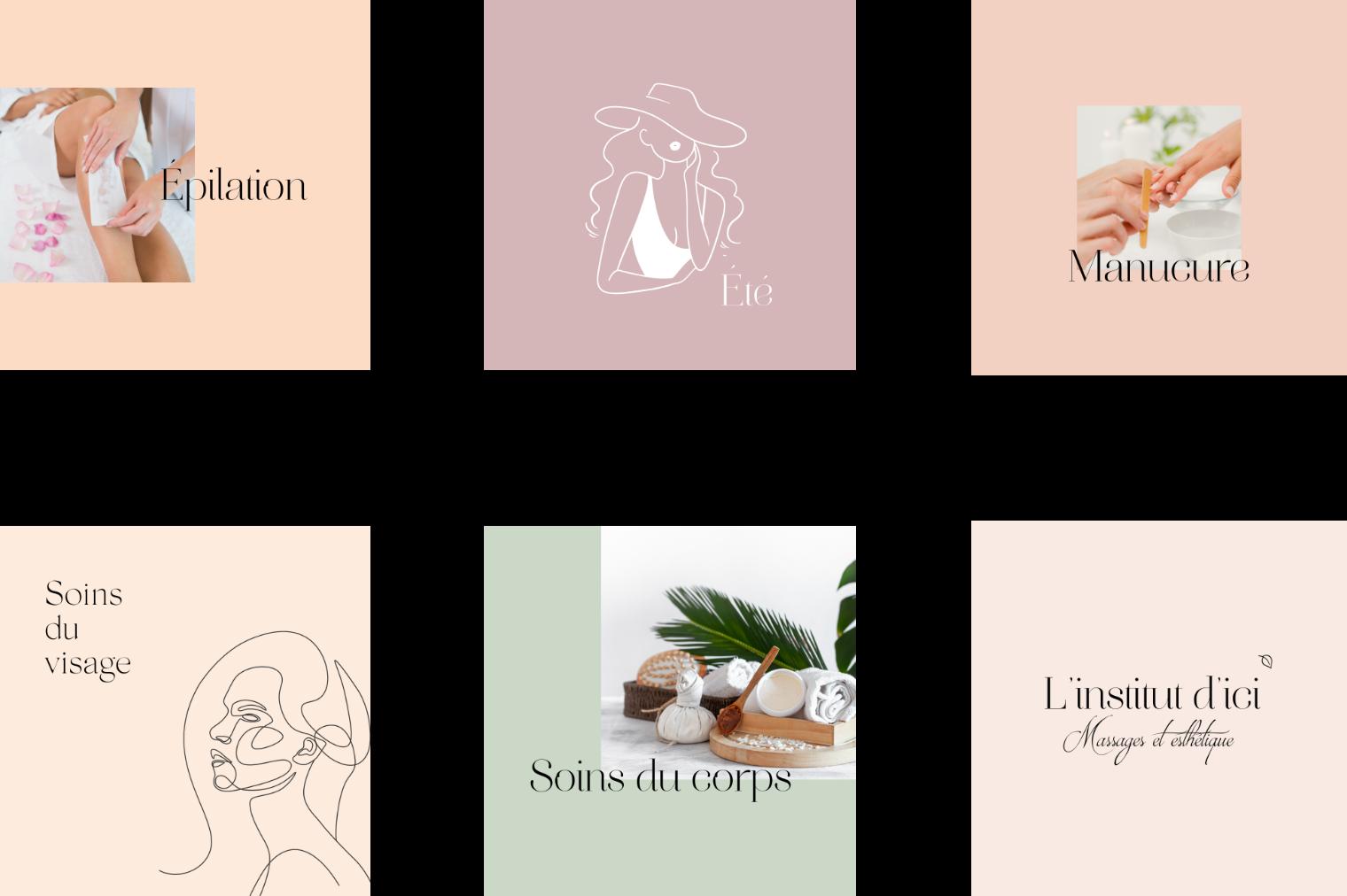 6 posts Instagram aux couleurs claires pour l'institut d'ici.