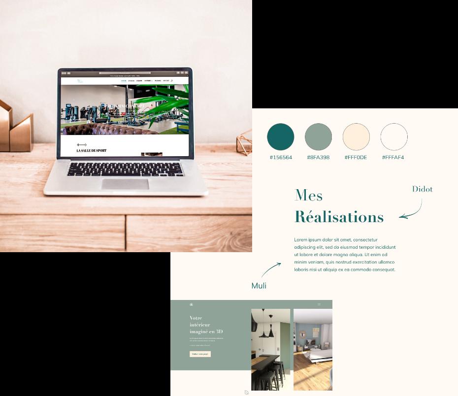 Site internet de la salle de remise en forme ProForm Concept et un webdesign pour My Home 3D une décoratrice d'intérieure.