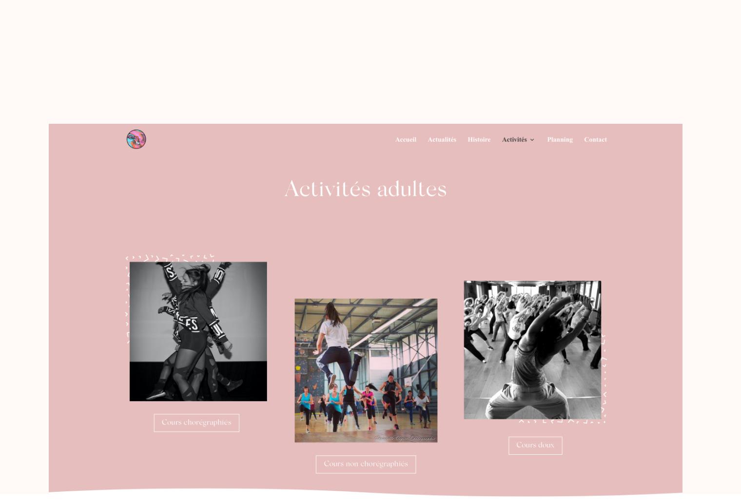 """La page """"activités adultes"""" en version ordinateur du site internet GymFit' Aurensan."""