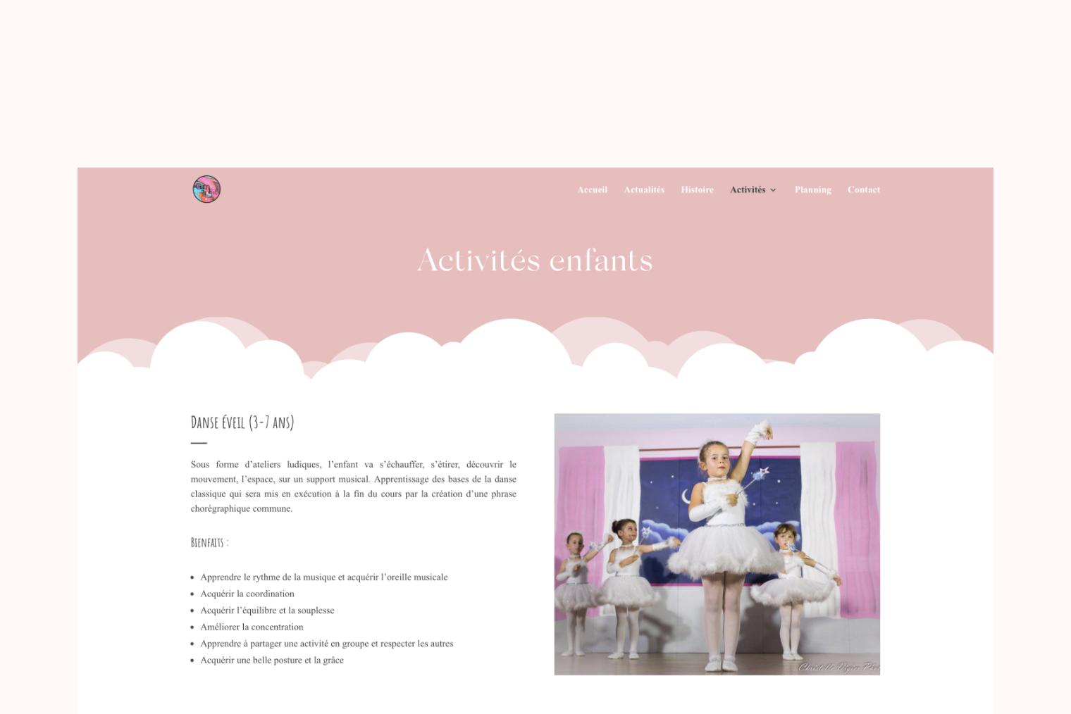 """La page """"activités enfants"""" en version ordinateur du site internet GymFit' Aurensan."""