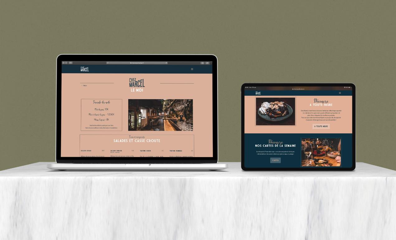 Mockup du site vitrine du restaurant Chez Marcel à Tarbes.