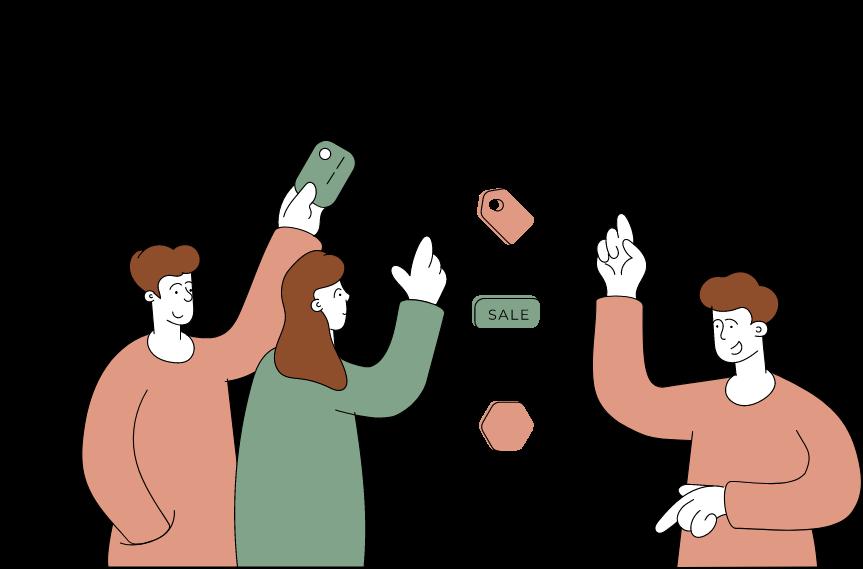 Illustration de personnages qui font du Click and Collect.