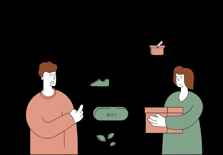 Click : une illustration d'une personne qui choisit des produits à acheter sur un site e-commerce.
