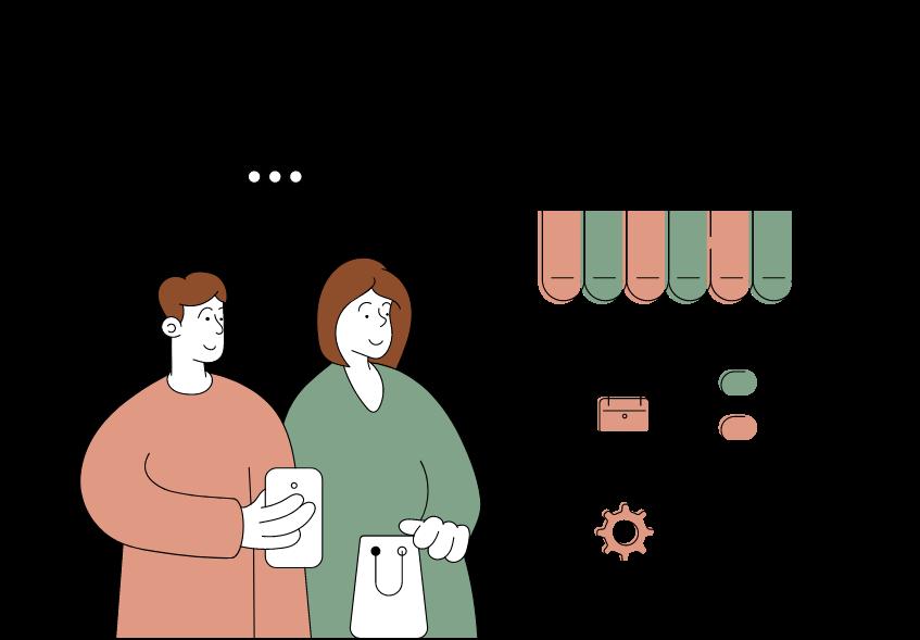 Collect : illustration de deux personnes qui viennent récupérer les produits achetés en ligne en boutique.