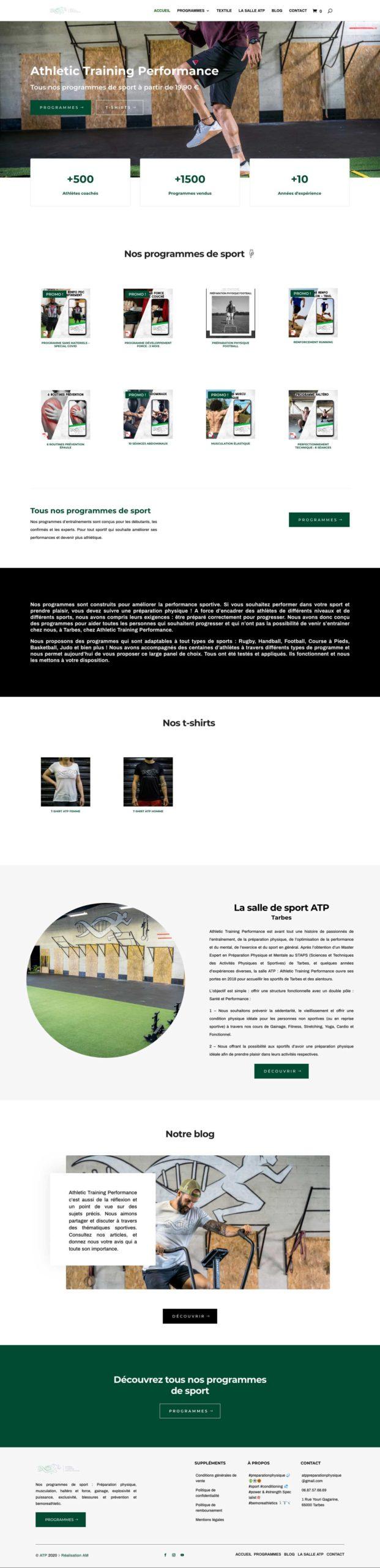 La page d'accueil du site Athletic Training Performance.
