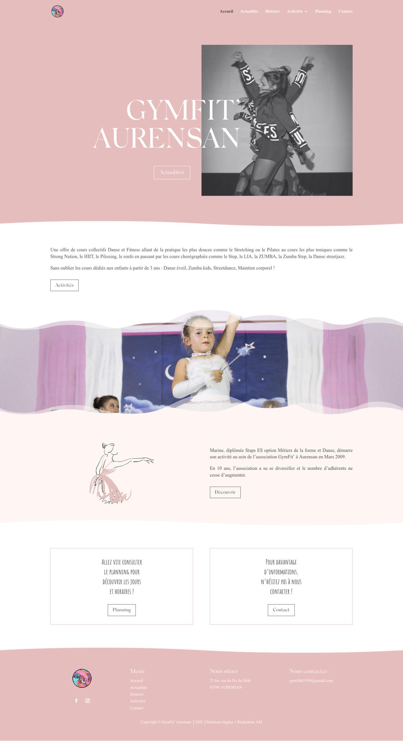 Page d'accueil du site internet de l'association de danse Gymfit Aurensan.