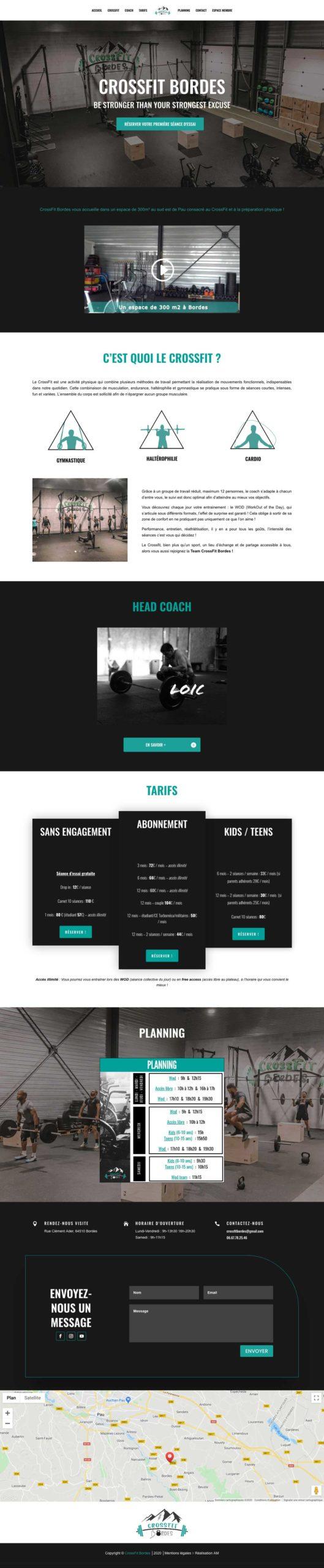 La landing page du site internet CrossFit Bordes.