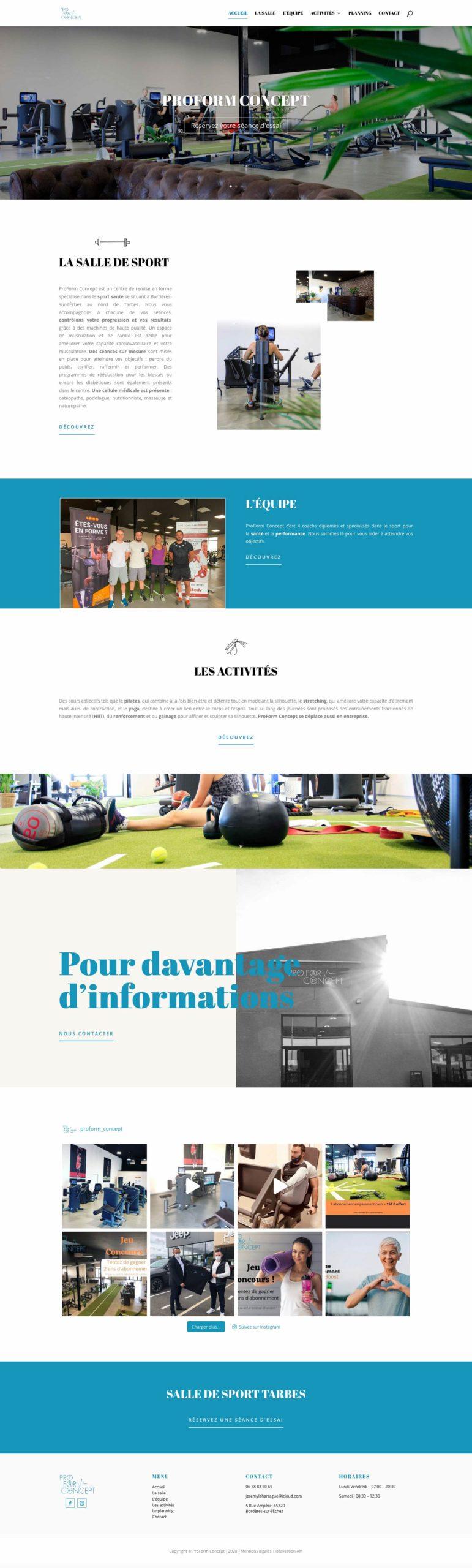 Page d'accueil du site internet de la salle de sport ProForm Concept au nord de Tarbes.