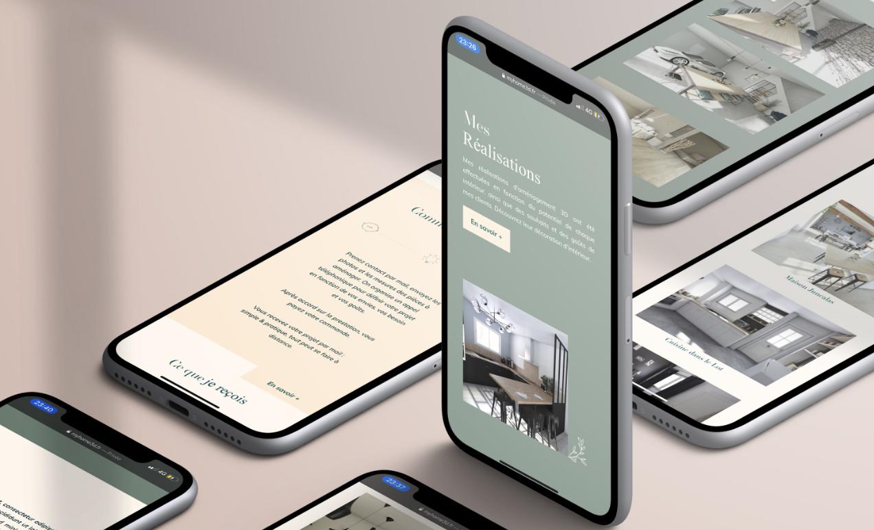Mockup du site internet en mobile de My Home 3D une décoratrice d'intérieur.