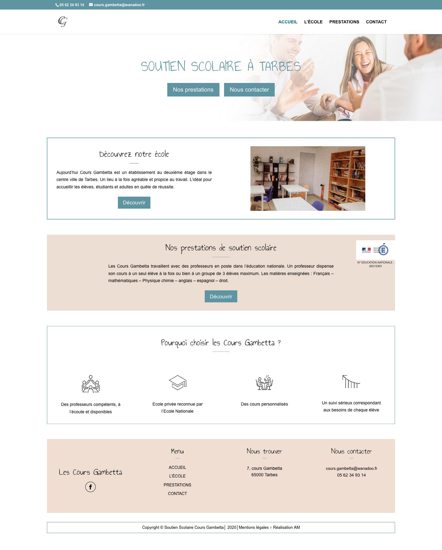 La page d'accueil du site Soutien scolaire à Tarbes de l'école Cours Gambetta.