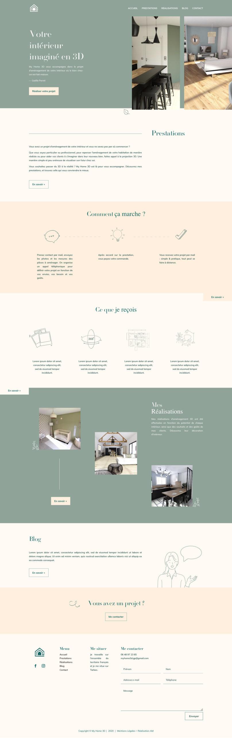 Page d'accueil de la décoratrice d'intérieur My Home 3D à Tarbes.