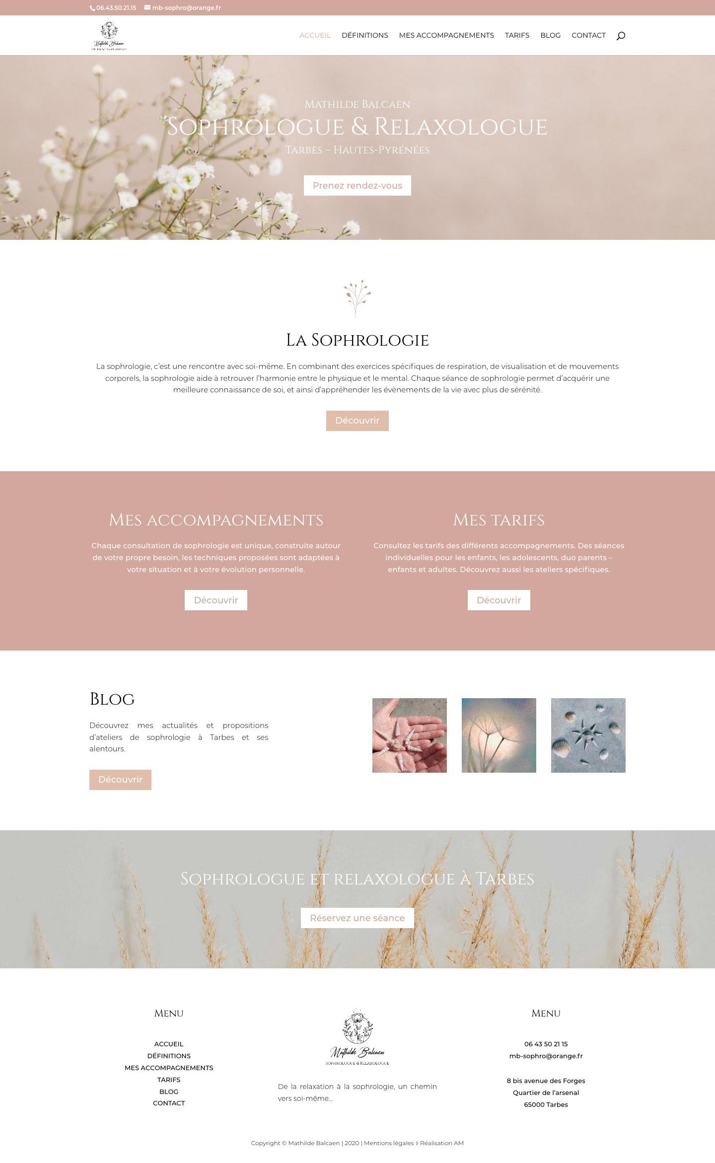 Page d'accueil du site internet de la sophrologue Mathilde Balcaen à Tarbes.