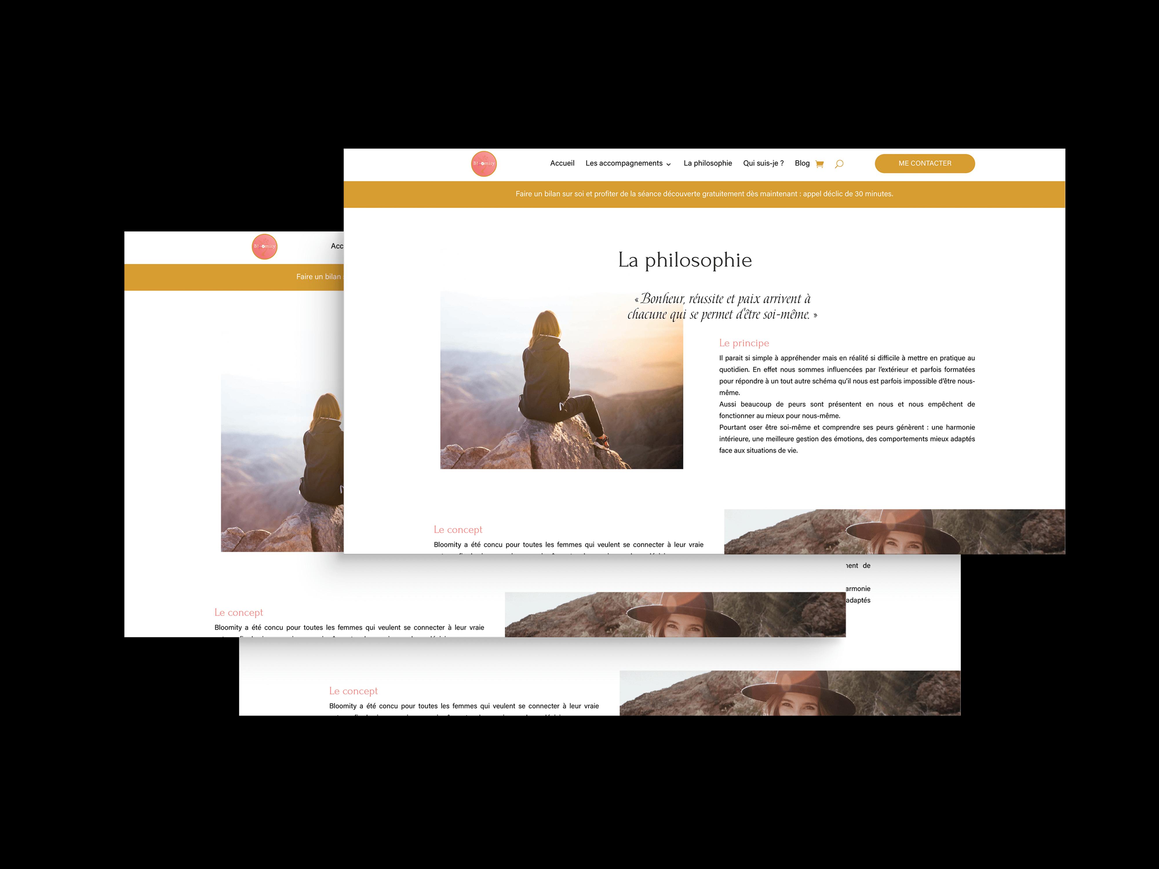 """La page """"La philosophie"""" du site internet Bloomity."""