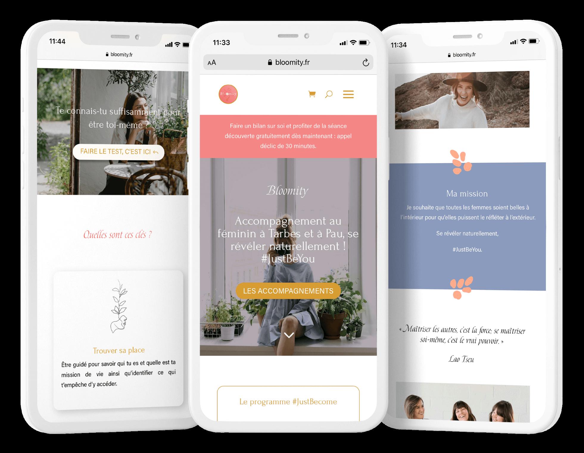 Le site Bloomity sur mobile.